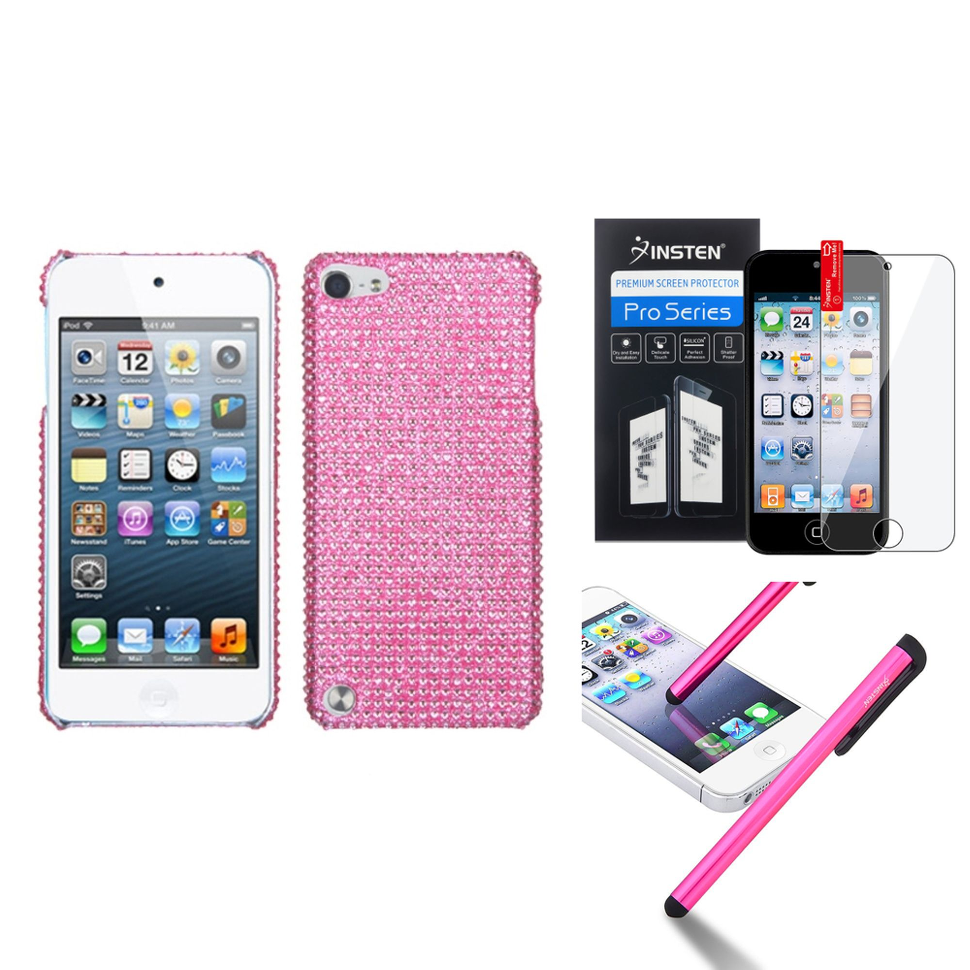 Insten Pink Diamante Diamond Case Bling Hard Cover For iPod Touch 6th 6G 6 5th 5G 5+LCD Guard+Pen