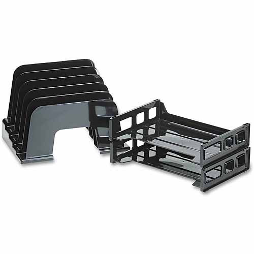 Officemate Incline Sorter, 2 Trays, 5-Compartments, Plastic, 9.12 x 13.5 x 14, Black