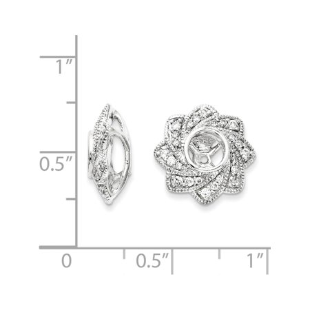 14k White Gold White Diamond Jacket (13x13mm) Earrings - image 1 of 2