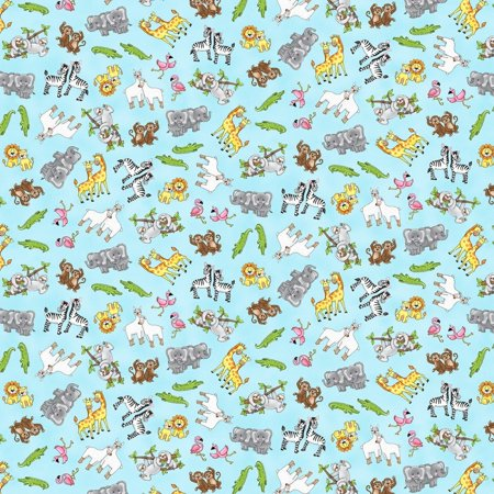 Two by Two Noah's Ark Aqua Tossed Animals Cotton Fabric by Studio E