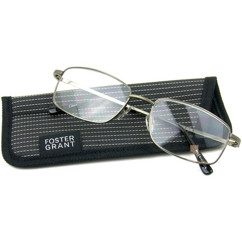 Foster Grant Men's T10 Reading Glasses, Silver