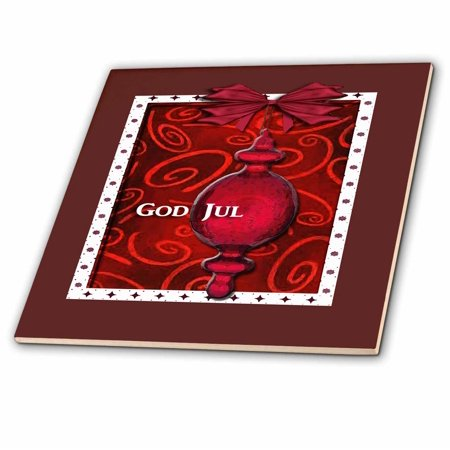 3dRose God Jul, Merry Christmas in Swedish, Ruby Glass Ornament - Ceramic Tile, 6-inch