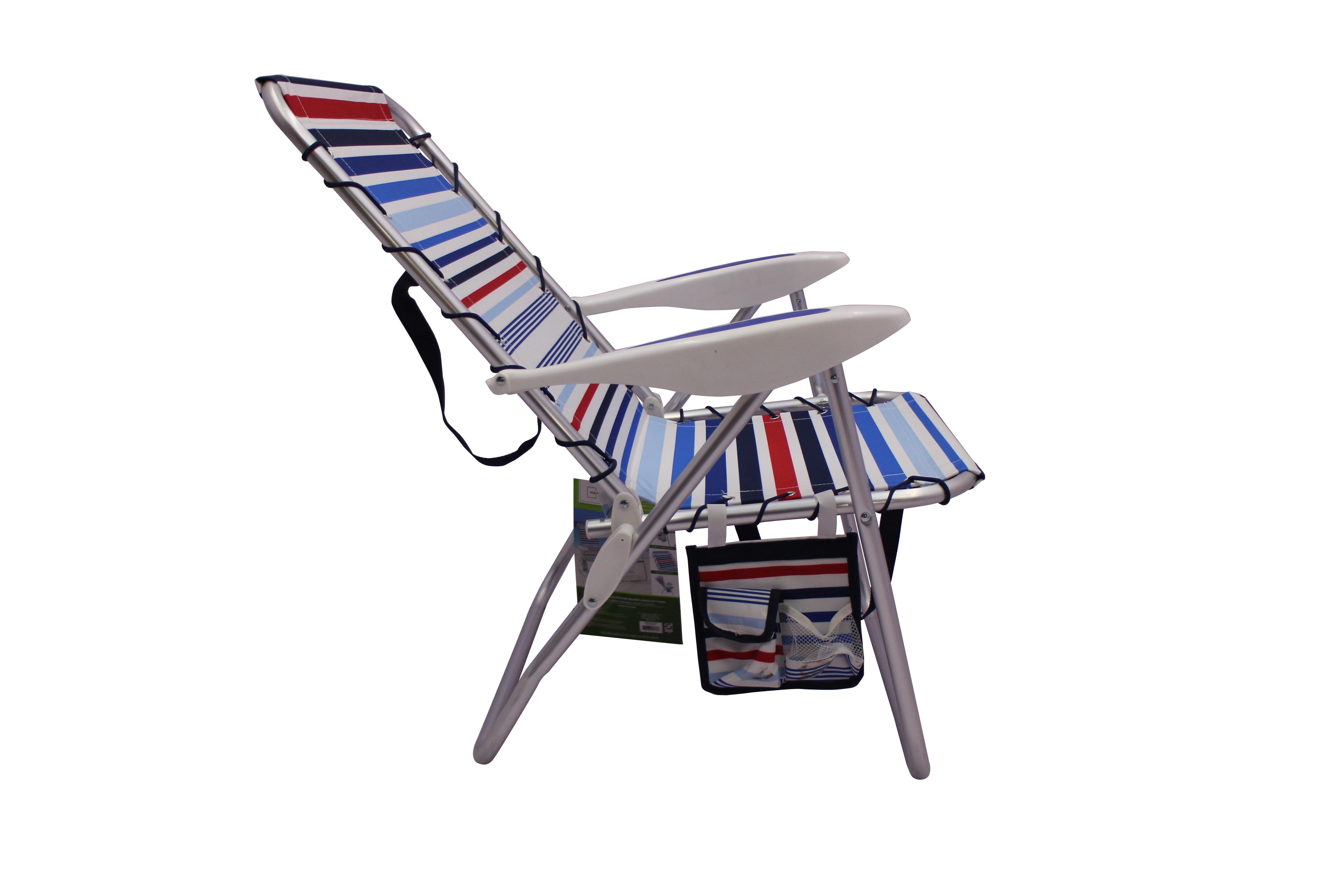 Mainstays Reclining Red White Blue Stripe Bungee Chair Brickseek