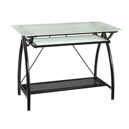 Office Star Newport Computer Desk With Frosted Tempered Glass Top Pullout Keyboard Tray