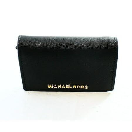 b20066e49e6f Michael Kors - Michael Kors NEW Black Saffiano Jet Set Travel Medium Slim  Bifold Wallet  98 066 - Walmart.com