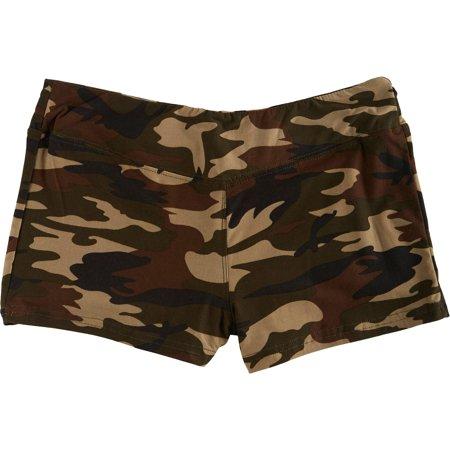 Hot Kiss Juniors Camo Print Stretch Shorts X-Large Green/multi (Camouflage Print Shorts)