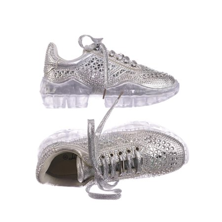Crystal6 by 7, Rhinestone Crystal Platform Sneaker - Women Metallic Clear Lace -