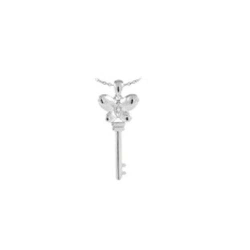 Dakota west Designs SP844 Sterling Silver with CZ Accent Butterfly Top Key Necklace