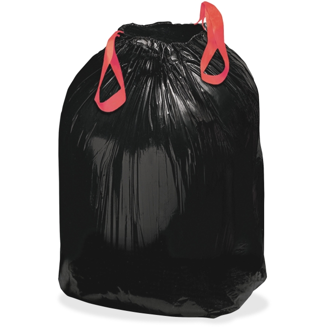 "Webster Draw'n Tie Drawstring Trash Bag - Medium Size - 30 gal - 30.50"" Width x 33"" Length x 1.20 mil (30 Micron) Thickn"