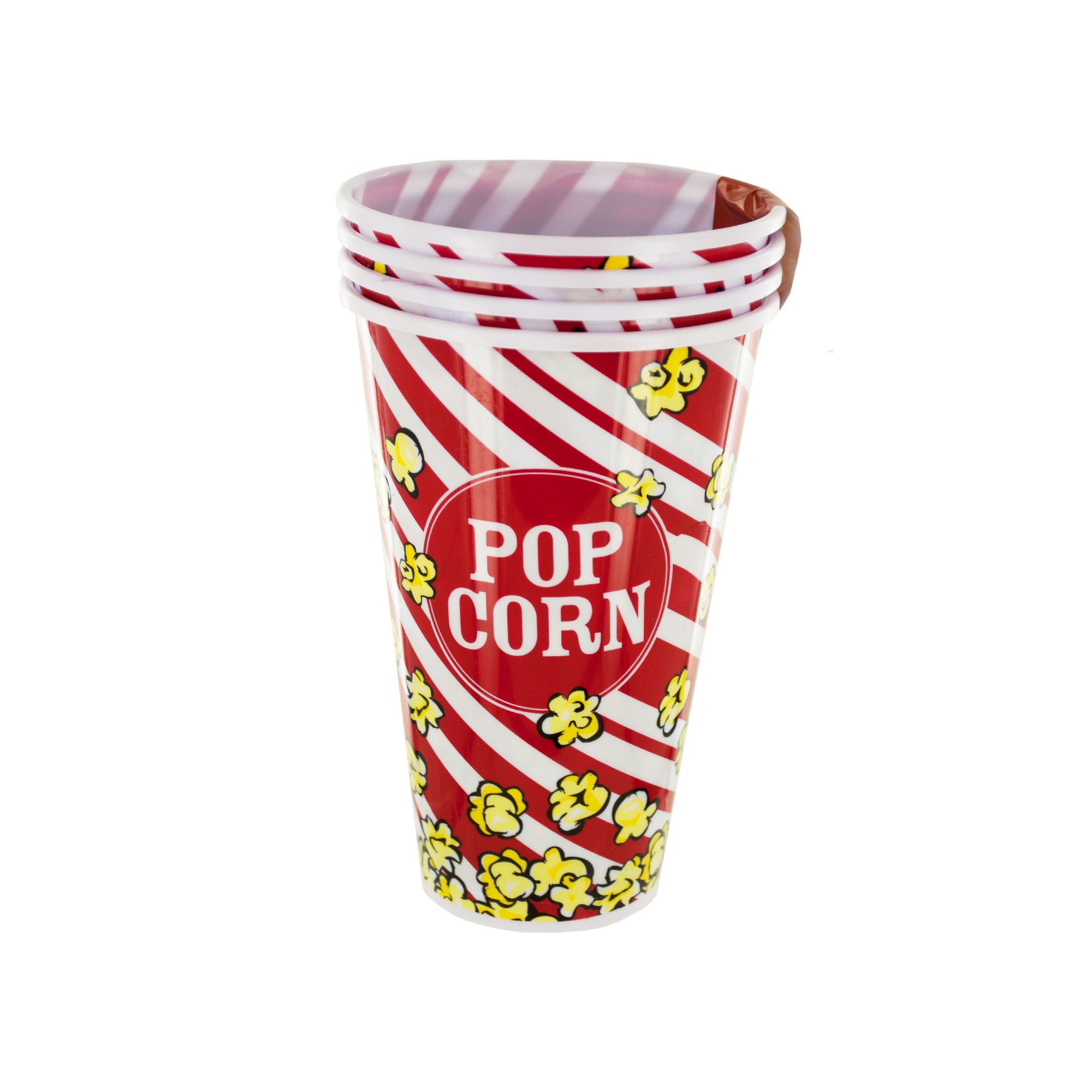 Red Popcorn Bucket Cups Set, Pack of 4