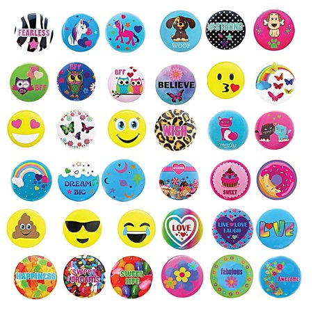 36 PCs Button Pins for Backpacks, Jackets, Bags - Great Birthday Party Favors, Stocking Stuffers, School Accessories and Supplies, Piñata Fillers, Giveaways