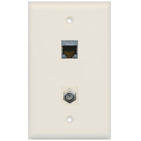 - RiteAV 1 Gang Wall Plate (Light Almond) 2 Port - Cat6 (Shielded) Coax (Light Almond)