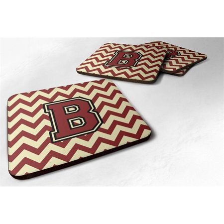 Carolines Treasures CJ1061-BFC Letter B Chevron Maroon & Gold Foam Coaster, Set of 4 - image 1 de 1