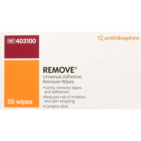 Smith and Nephew Remove Adhesive Remover Wipes 403100, 50-count, Simple to use, gently and painlessly clean all types of adhesive residue from the skin By BND Smith Nephew Wound Care,USA