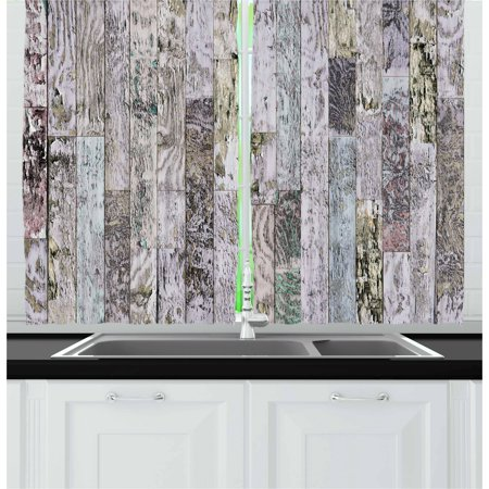 Wood Print Curtains 2 Panels Set, Pastel Colored Oak Timber Boards of a Farmhouse in the Country Natural Lifestyle, Window Drapes for Living Room Bedroom, 55W X 39L Inches, Multicolor, by Ambesonne ()