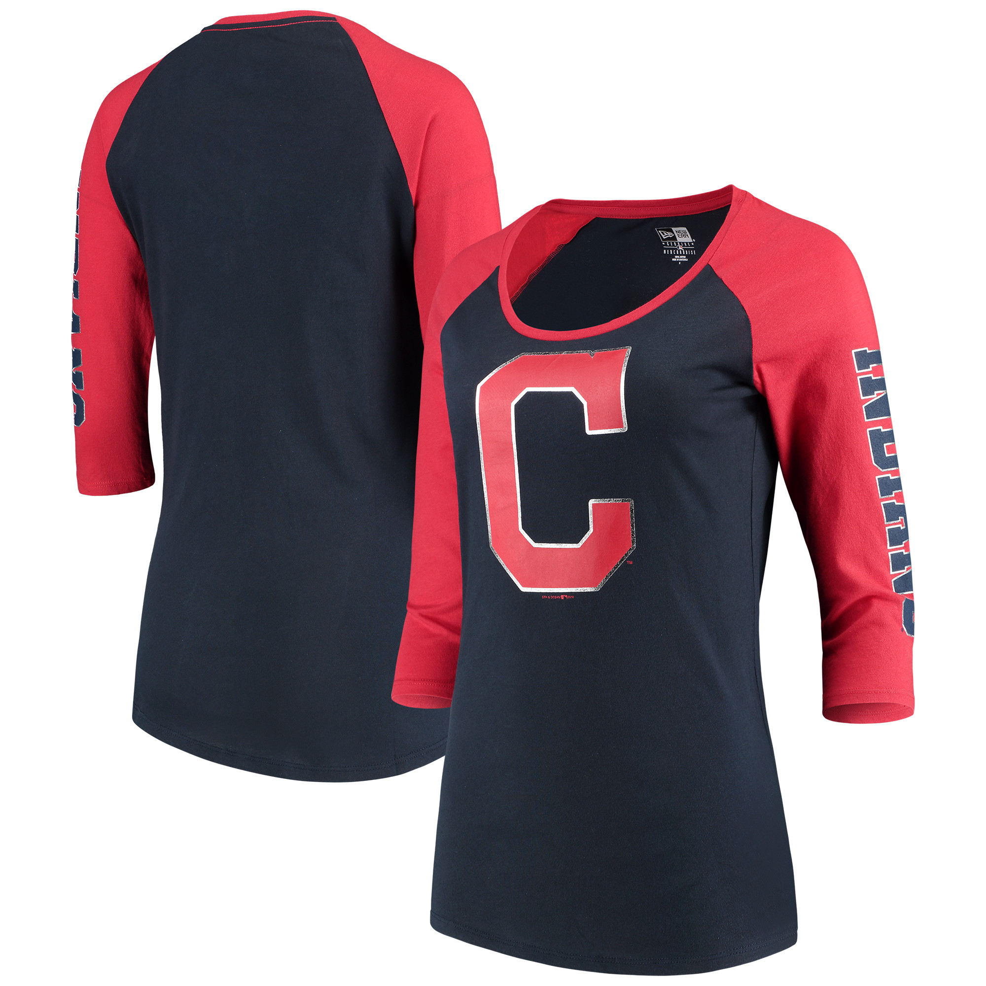Cleveland Indians 5th & Ocean by New Era Women's Foil 3/4-Sleeve T-Shirt - Navy/Red