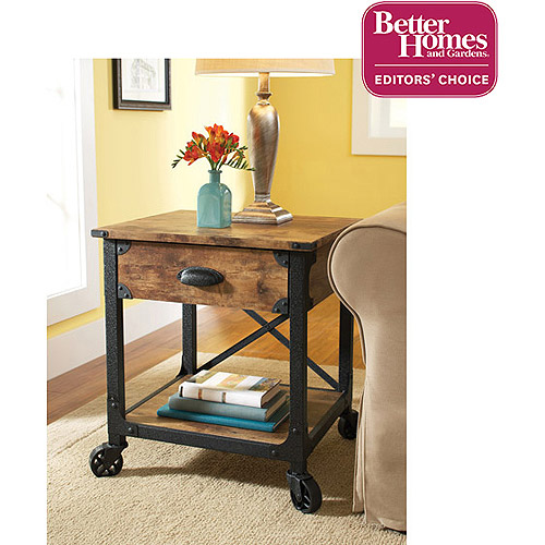 Better Homes and Gardens Rustic Country Side Table, Antiqued Black/Pine