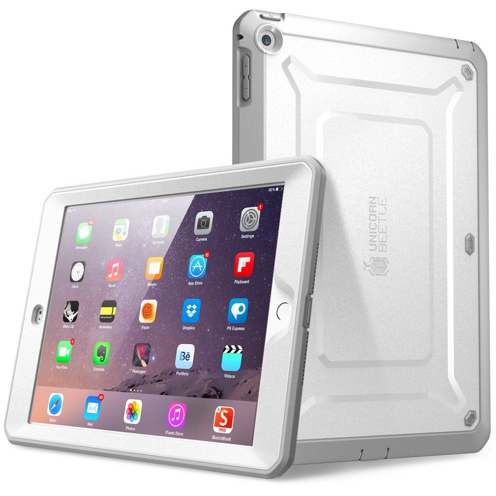 SUPCASE, Beetle Defense Series for Apple iPad Mini with Retina Display Full-body Hybrid Protective Case- White/Gray