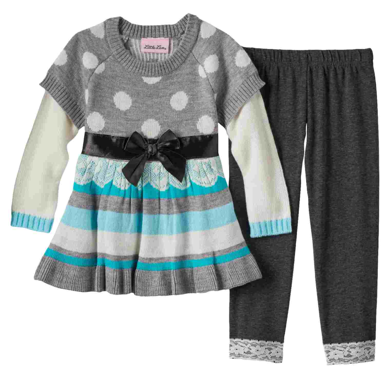 Little Lass Girls 2 Piece Dress Up Outfit Gray Polka Dot Sweater & Leggings Set
