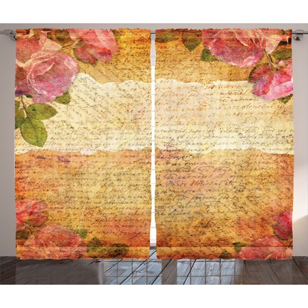 Roses Decorations Curtains 2 Panels Set, Floral Nostalgic Collage Of Old Latters And Roses Artsy Retro Romantic Artwork Print, Living Room Bedroom Accessories, By Ambesonne