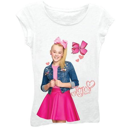 df6760a7199bc Nickelodeon - Nickelodeon Little Girls' JoJo Siwa Half Bow Short Sleeve T- Shirt, White, 4 - Walmart.com