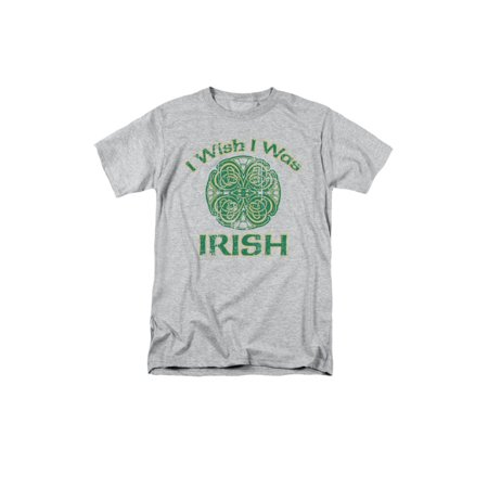i wish i was irish celtic four-leaf clover design funny saying adult t-shirt tee - Funny Halloween Wishes Sayings