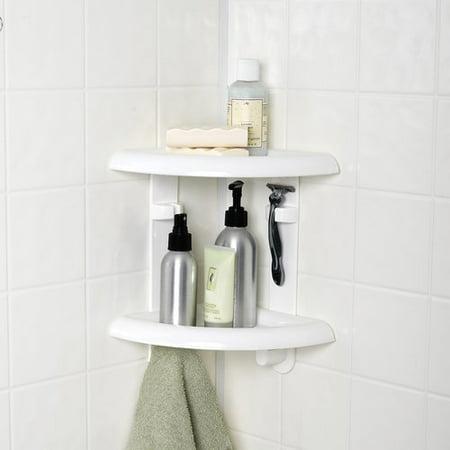 mainstays 2 shelf corner shower caddy. Black Bedroom Furniture Sets. Home Design Ideas