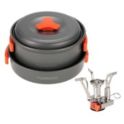 TOMSHOO Outdoor Camping Hiking Cookware with Mini Camping Piezoelectric Ignition Backpacking Cooking Picnic Pot Set