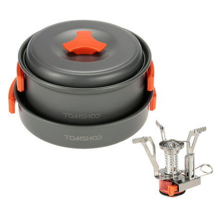 TOMSHOO Outdoor Camping Hiking Cookware with Mini Camping Piezoelectric Ignition Stove Backpacking Cooking Picnic Pot Stove