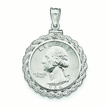 0.25 Ounce Panda Coin - Sterling Silver 24.1 x 1.7mm $0.25 Rope Coin Bezel Pendant