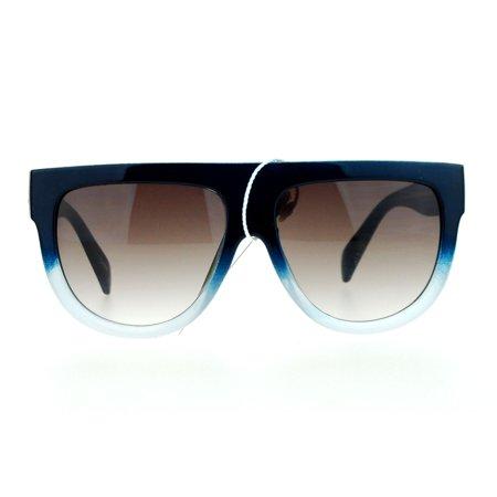 SA106 Womens Flat Top Thick Plastic Oversize Boyfriend Fit Sunglasses Blue White ()