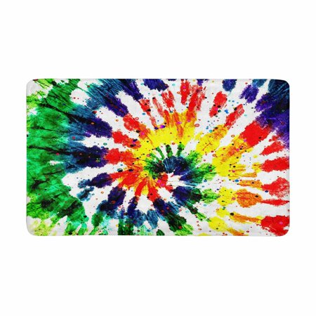 MKHERT Abstract Rainbow Tie Dye Boho Style Doormat Rug Home Decor Floor Mat Bath 30x18 Inch