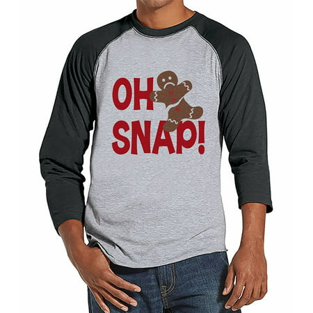 - 7 at 9 Apparel Men's Funny Gingerbread Man Christmas Raglan Tee - Medium