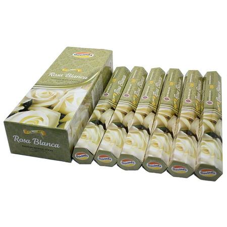 - Govinda® Incense - Rosa Blanca (White Rose) - 120 Incense Sticks, Premium Inc...