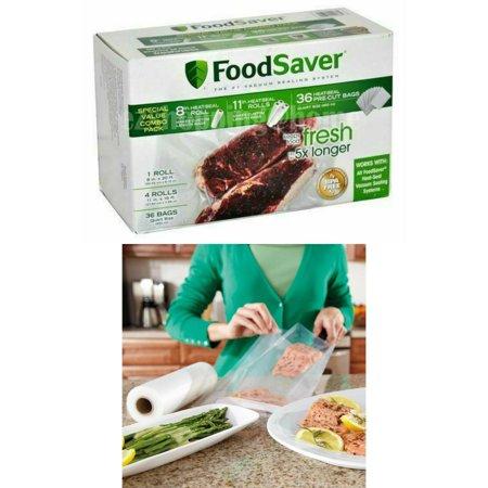 """FoodSaver Vacuum Heat-Seal Rolls Combo Pack 8"""" & 11"""" Sealer Storage Bags + 36 Quart Bags(5 Count)"""
