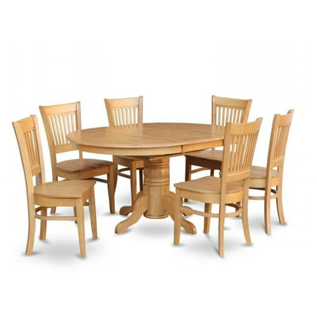 East West Furniture AVVA7-OAK-W 7 Piece Dining Room Set For 6-Table Having  Leaf and 6 Dining Chairs