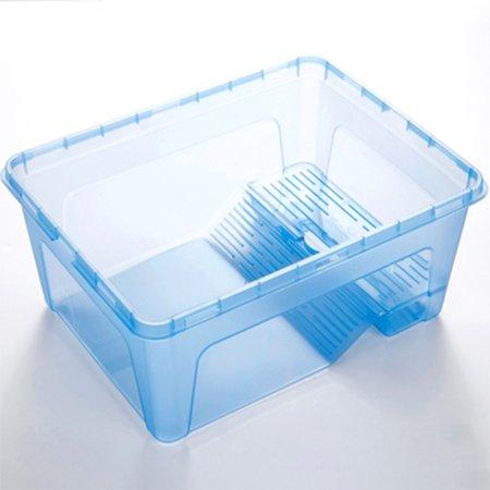 - Plastic Turtle Feeding Box Terrapin Food Bowl with Detachable Bask Platform