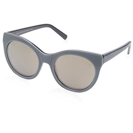 SOCIETY NEW YORK Women's Oval Brow Sunglasses, Graphite, (Society Sunglasses)