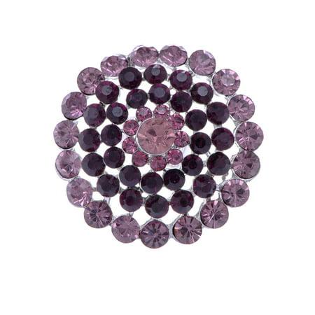 ChicDesign Round Purple Crystal Rhinestone Fashion Costume Jewelry Ring - Costume Wedding Jewelry