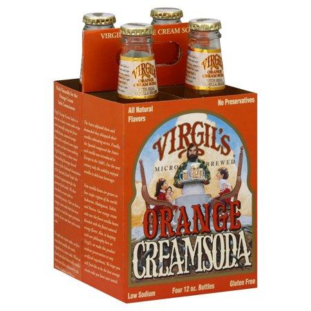 Virgil's Low Sodium Gluten-Free Micro Brewed Orange Cream Soda, 12 Fl. Oz., 4 Count (Virgil Cream Soda)