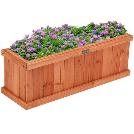 Giantex 28/36/40 Inch Wooden Flower Planter Box Garden Yard Decorative Window Box Rectangular ()