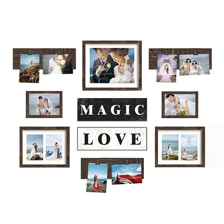 Photo Gallery Templates - DL furniture - Magic Love Photo Frame & Plaque College Frame - Valentine Wall Decoration Combination - Brown PVC Picture Frame Selfie Gallery Collage Full Size Hanging Template & Wall Mounting Design