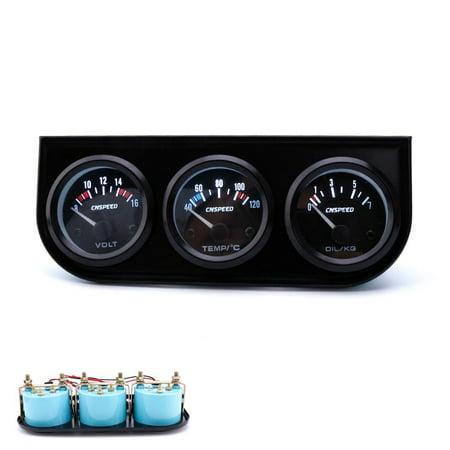 3 in1 52MM Car Accuracy Auto Gauge Voltmeter Water Temperature Oil Pressure Sensor Triple Gauge Set
