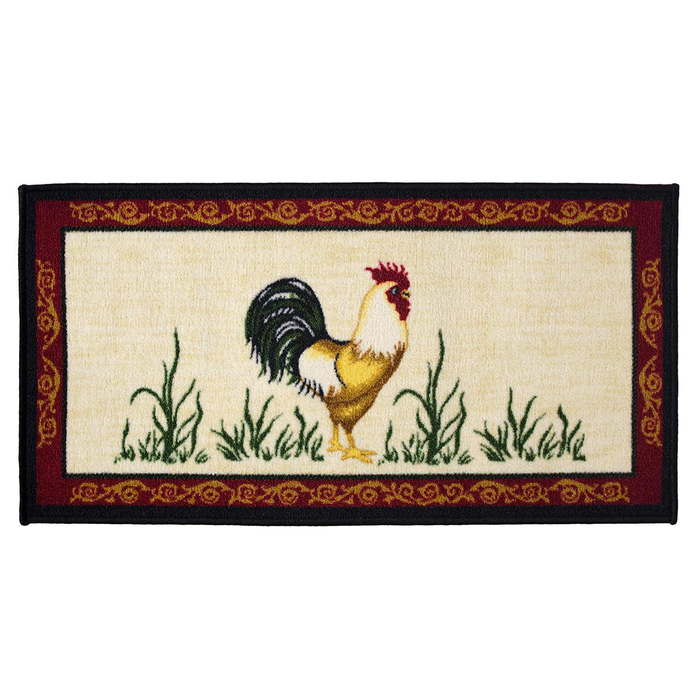 Dot Rooster 20x40 Rectangle Kitchen Rug Area Mat Carpet Non Skid Latex Back Walmart Com