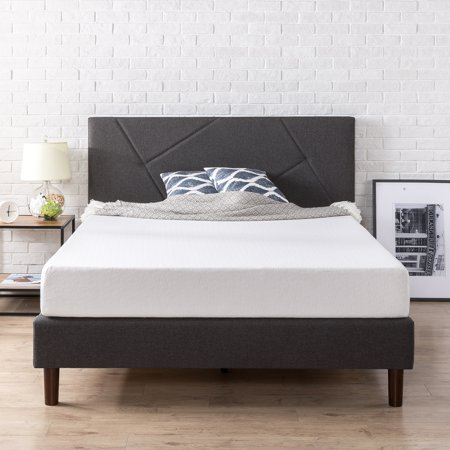 Zinus Judy Upholstered Geometric Paneled Platform Bed with Wood Slat Support, Multiple Sizes