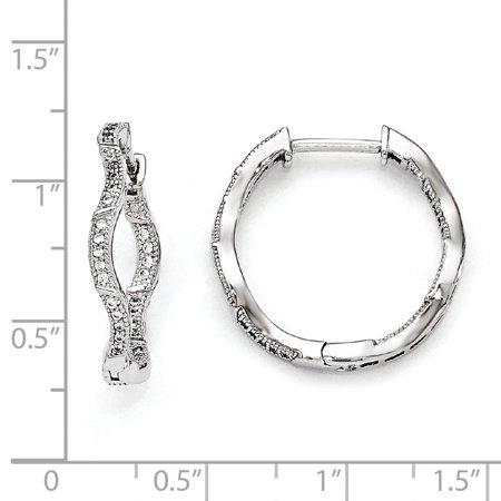 Sterling Silver & CZ Brilliant Embers Polished Hinged Hoop Earrings QMP1321 - image 1 of 2