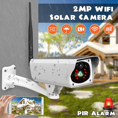 HD 1080P 2MP Waterproof Outdoor Solar Security Camera Wireless WIFI IP Camera Night Vision PIR Detection for Android/IOS Phone Porch Garden Patio Driveway