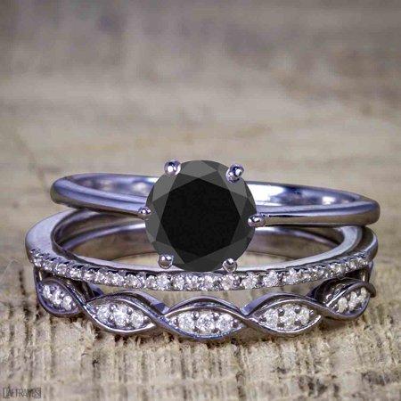 1.50 Carat Round cut Black Diamond Solitaire Trio Wedding Bridal Ring Set in Black Gold