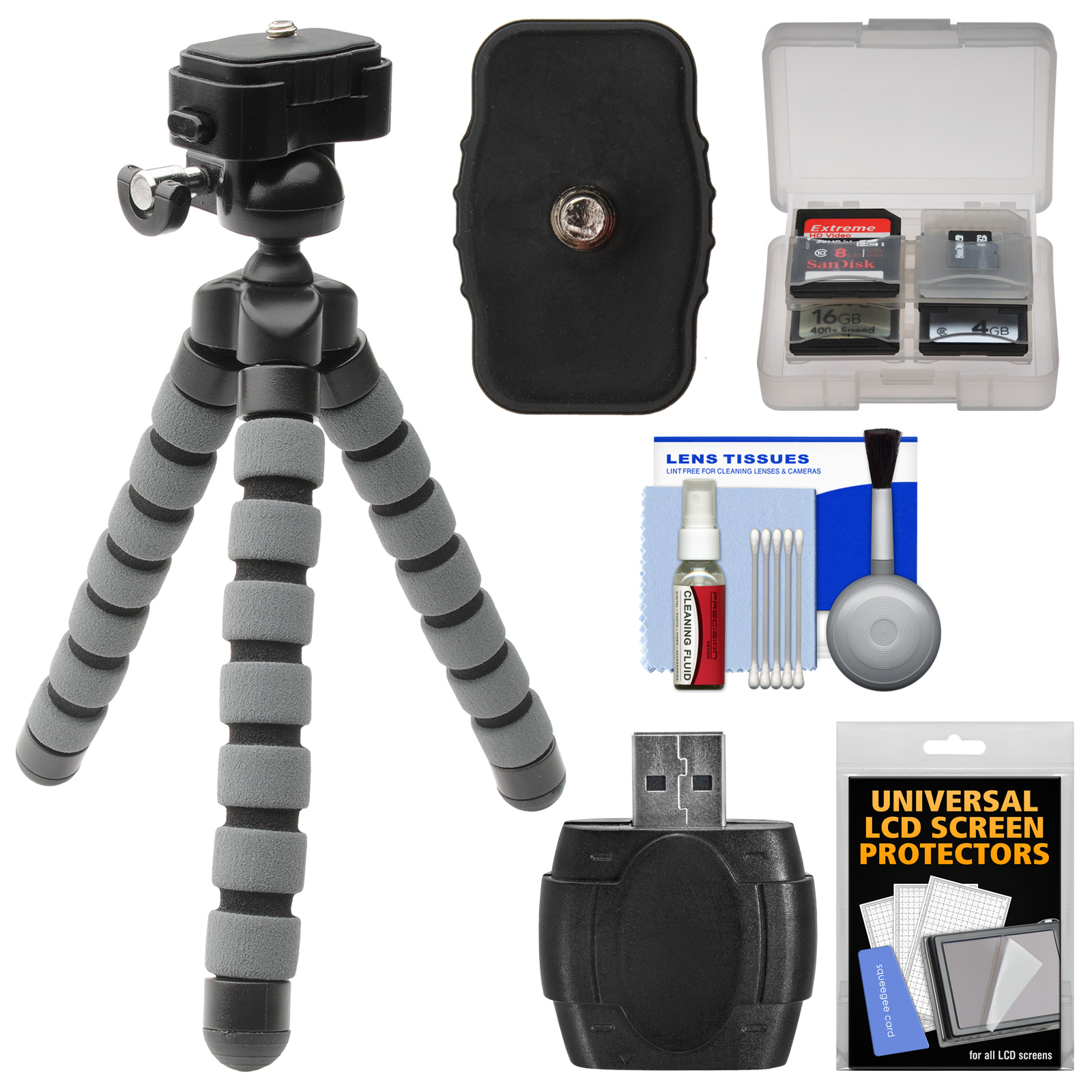 Precision Design PD-T14 Flexible Compact Camera Mini Tripod with Quick Release + Card Reader + Accessory Kit