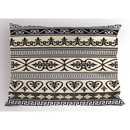 Ethnic Pillow Sham Antique Ancient Leaves Hearts Borders Roman Florals Ivy Theme Artwork Image, Decorative Standard King Size Printed Pillowcase, 36 X 20 Inches, Taupe Black Tan, by Ambesonne - Roman Leaves